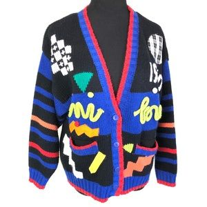 Amazing vintage 90's abstract cardigan sweater